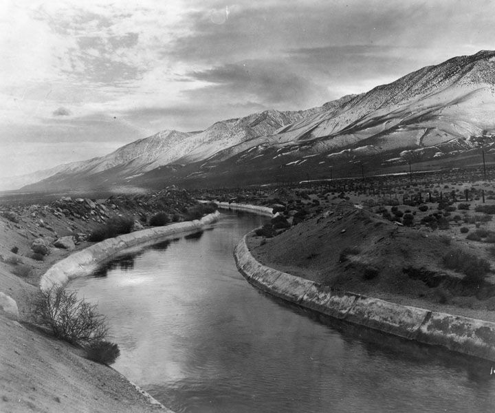 1928 Panoramic View Of The Los Angeles Aqueduct In The Owens Valley Near Alabama Hills On November California History Panoramic Views California