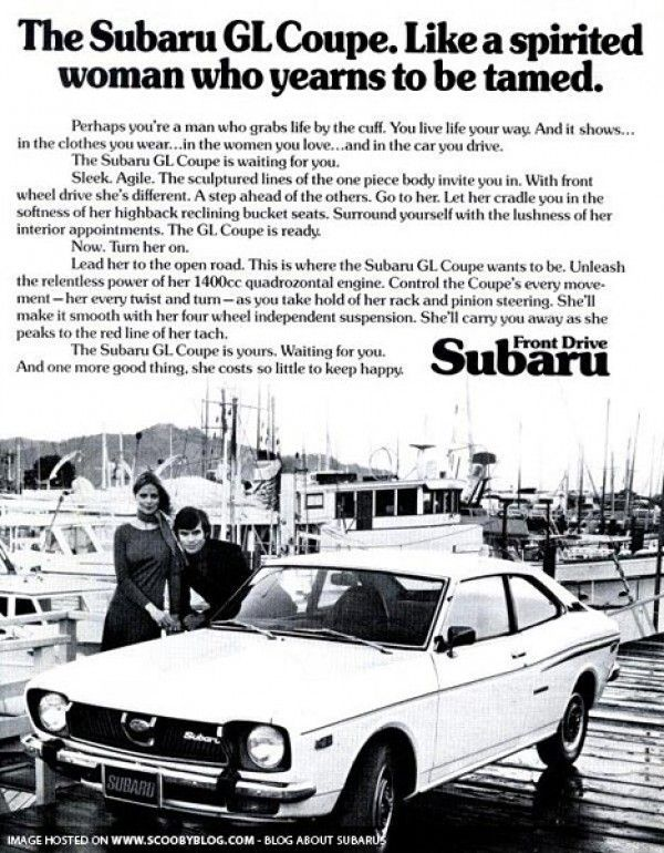 Vintage ad: The Subaru Coupe  Like a spirited woman who years to be