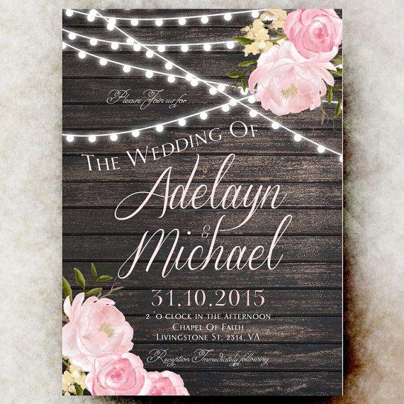 Rustic Wedding Invitation Printable String Lights Barn Country Blush Pink