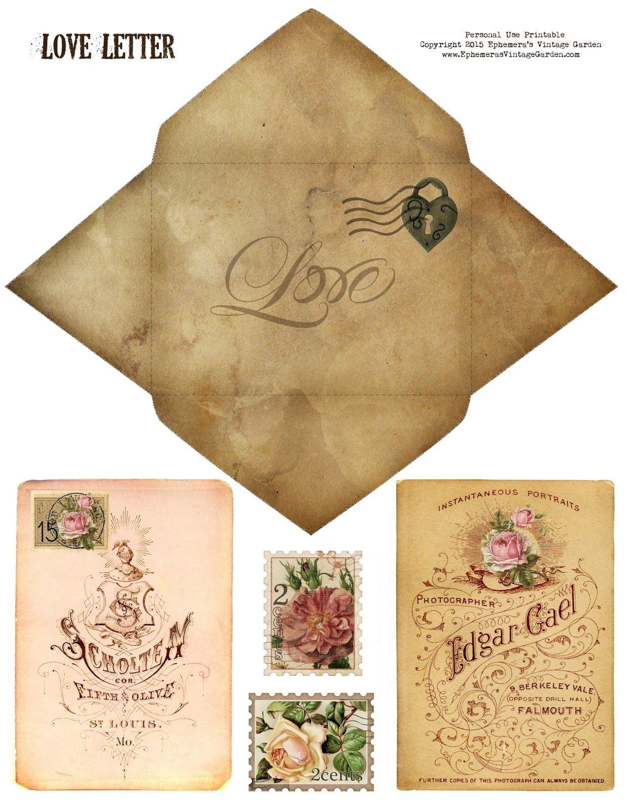 Ephemera\'s Vintage Garden: Free Printable - \'Love\' Envelope and Card ...