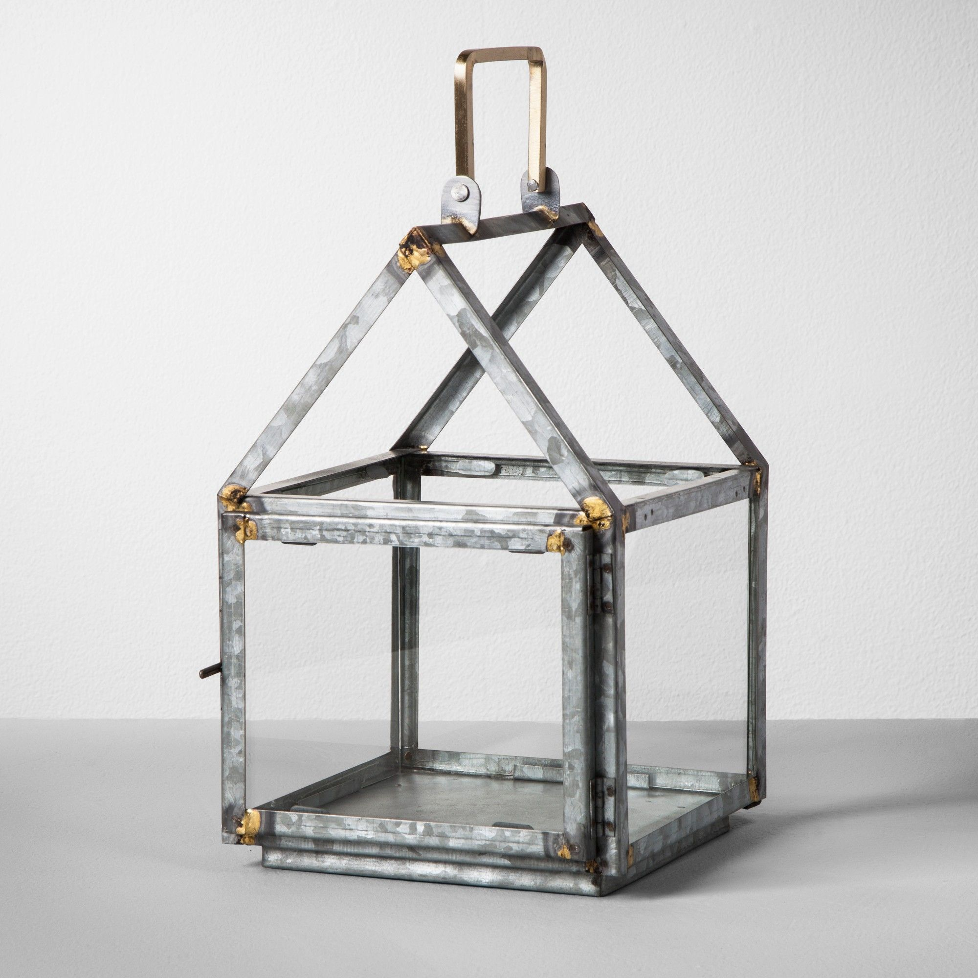 Galvanized House Lantern Small Hearth Amp Hand With Magnolia Pink Gray Winter Living Room