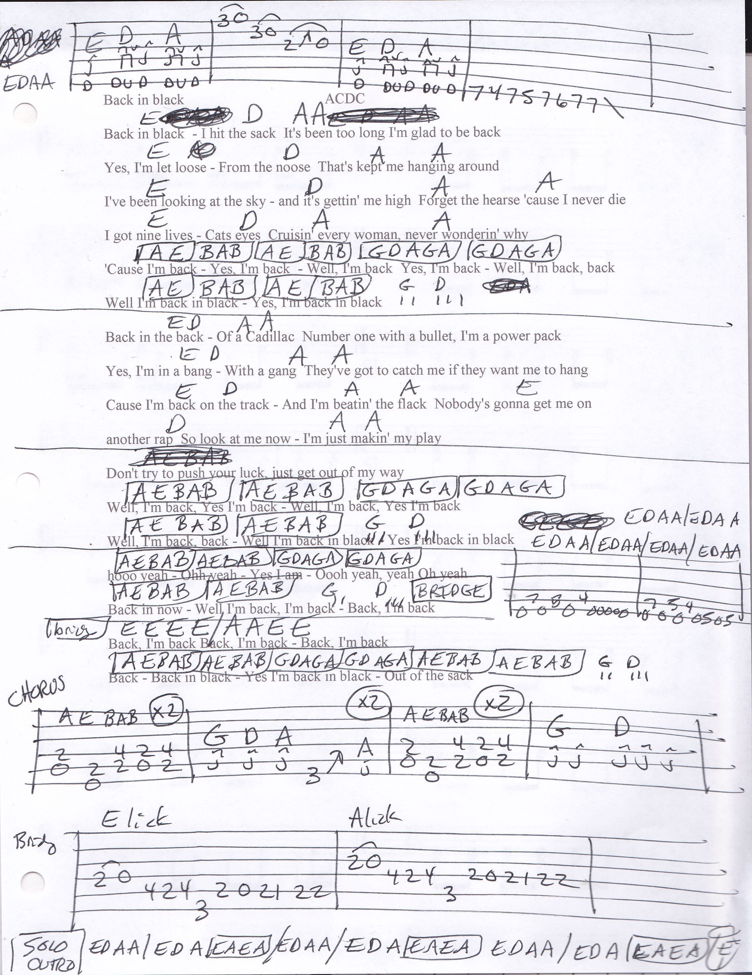 Back In Black Acdc Guitar Chord Chart How To Teach Guitar To