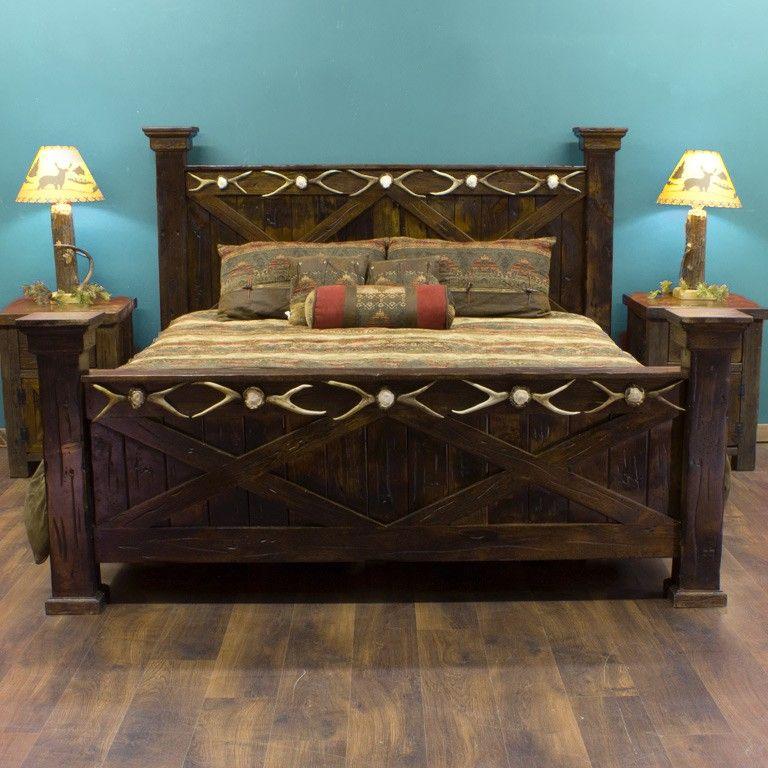 Antler Barnwood Bed Rustic Bed Reclaimed Barn Wood and Barn Wood