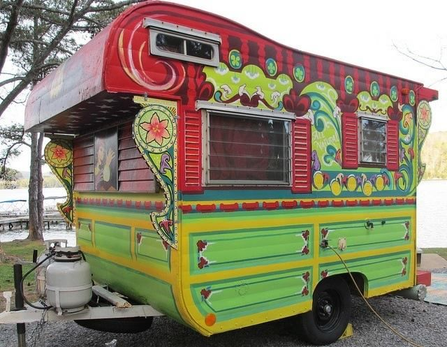 Painted Travel Trailer HELL YEAH Gypsy Fantasy Pinterest - Old shabby trailer gets one hell makeover