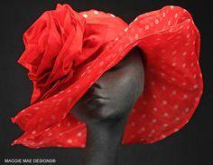Wide brim red polka dot organza Derby hat from Maggie Mae Hats. #judithm Gorgeously big.