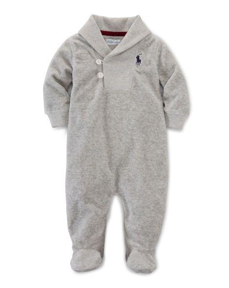 8408b1c7 Velour Shawl-Collar Coverall - Baby Boy One-Pieces - RalphLauren.com ...