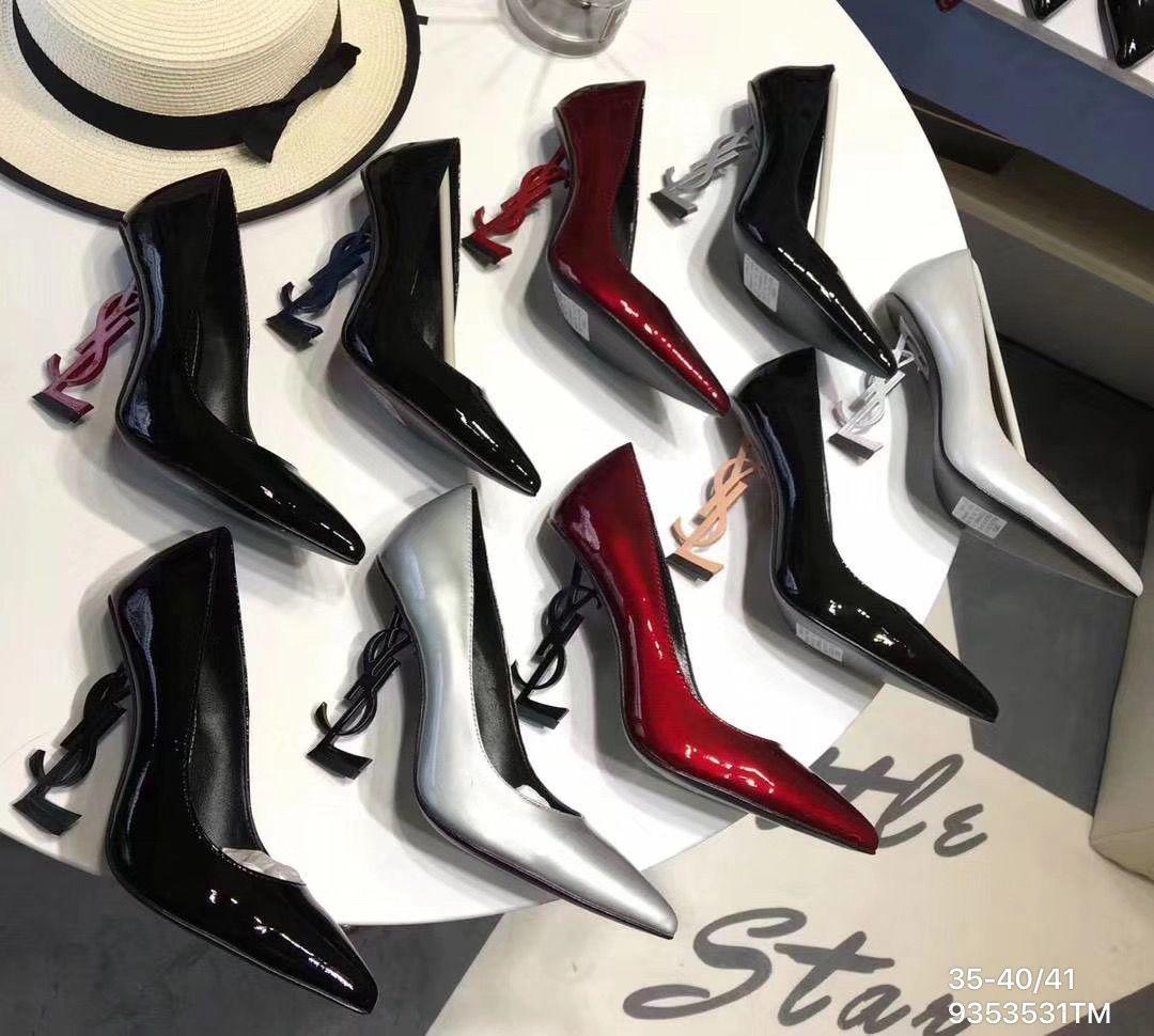 Ysl Saint Laurent woman letter logo heels patent leather