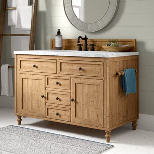 """Signature Hardware Morris Marble 49"""" Single Bathroom"""
