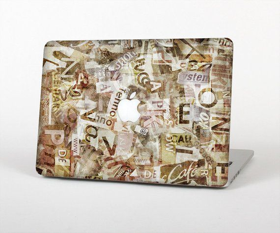 The Vintage Torn Newspaper Collage Skin for the Apple
