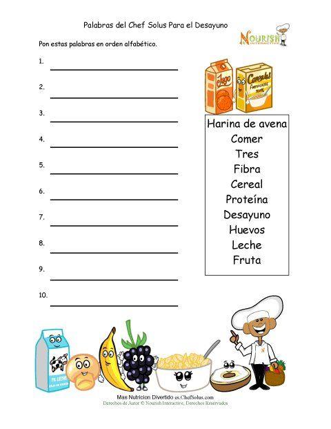 Actividad Para Escritores Jóvenes de Poner Palabras del Desayuno Saludable en Orden Alfabético