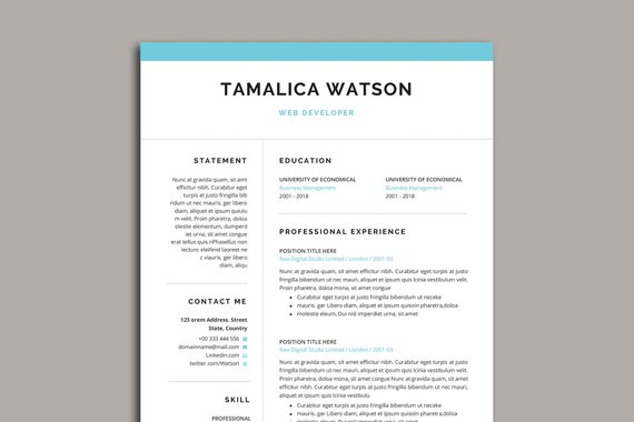 Minimale Eine Seite Lebenslauf Vorlage In Word Etsy One Page Resume Template One Page Resume Resume Design Template