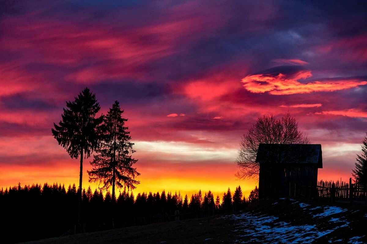 I challenge you to count the colours. Sunrise in Bucovina