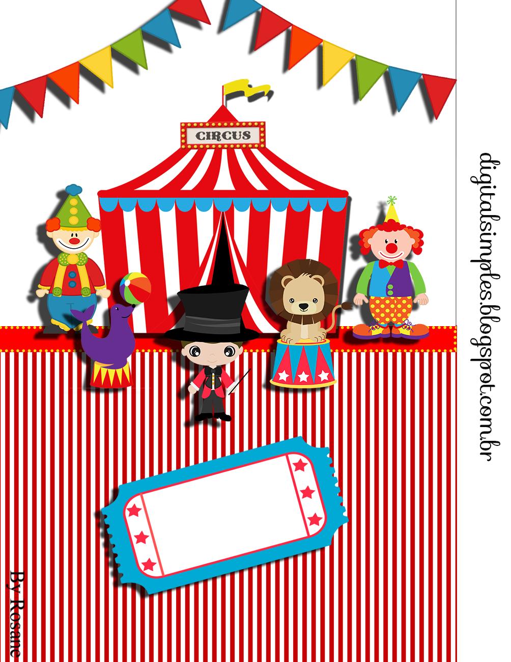 Kit De Personalizados Tema Circo Para Imprimir Com Imagens