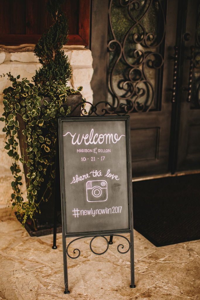 Cutest welcome wedding sign that doubles as a wedding hashtag sign