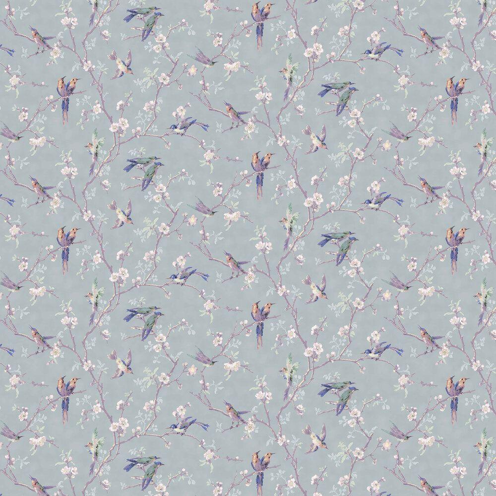 Bird and Blossom Grey Blue / Purple / Burnt Orange