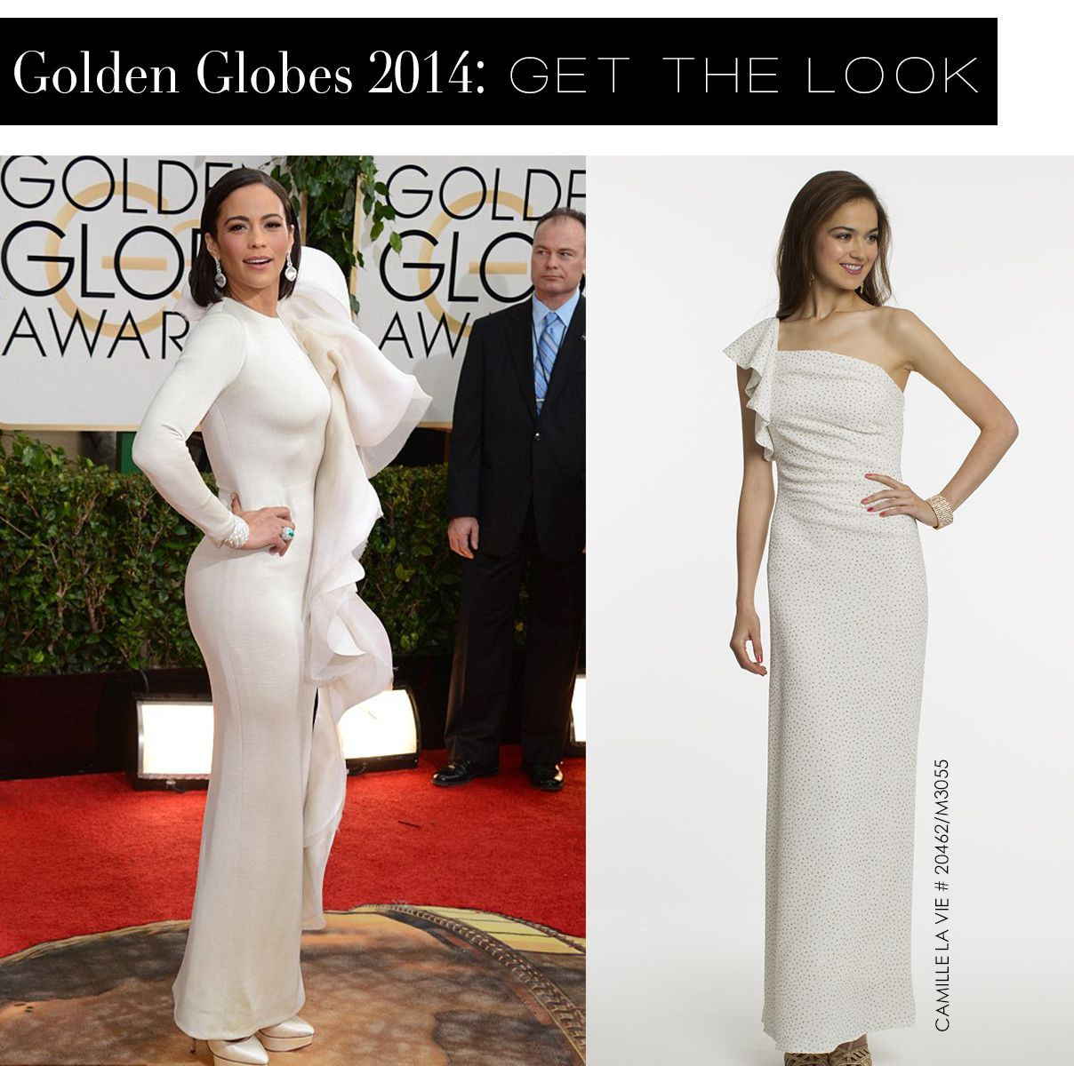 Paula Patton at the Golden Globes 2014 and the Camille La Vie dress version for less