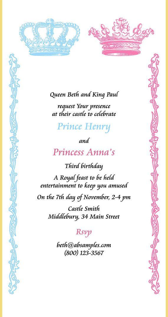 Royal twins birthday party invitation scroll prince by SnoringMoon ...