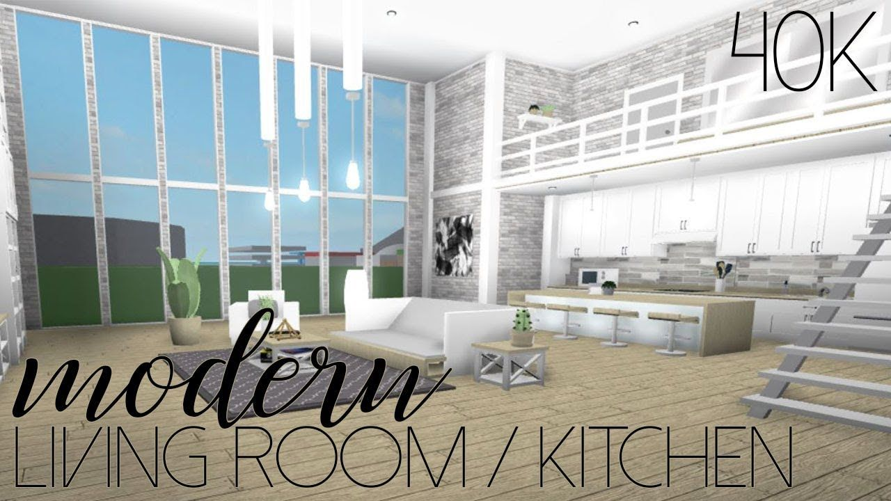 Roblox Welcome To Bloxburg Modern Living Room Kitchen 40k Youtube Living Room Design Blue House Interior Interior Design Living Room