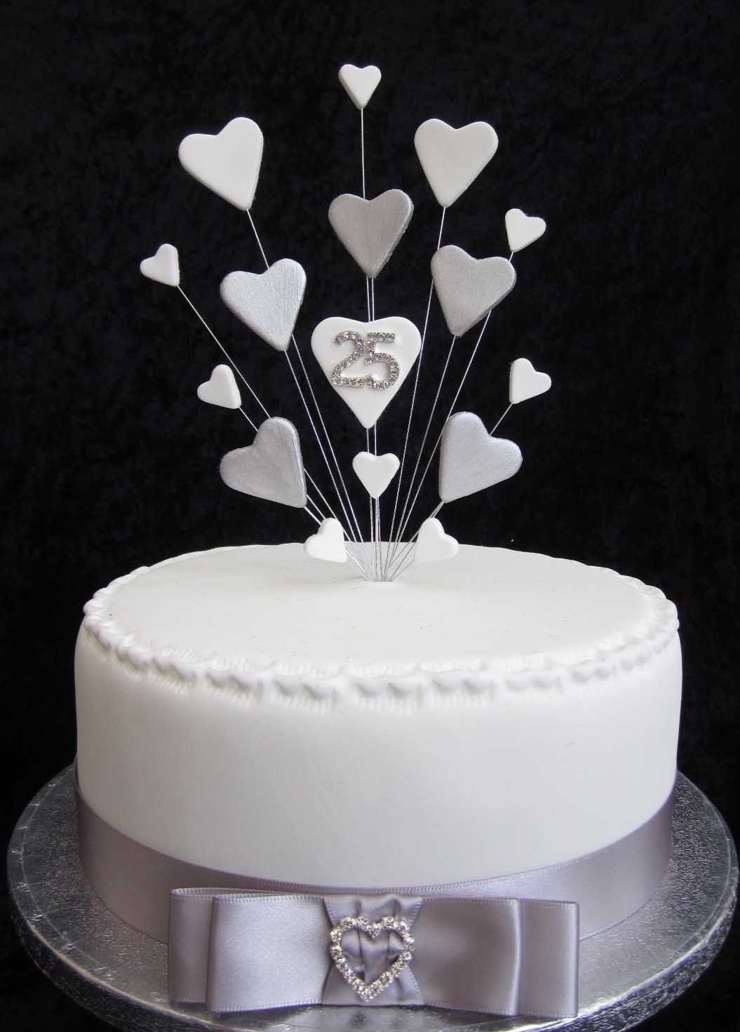 25th Silver Wedding Anniversary/Birthday Cake Topper ...