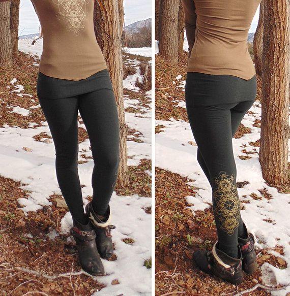 d2dac4ad42 Lyra Leggings: NEW COLORS Organic Cotton/Soy Yoga Pants. Sacred Geometry  Screen Print. With Skirt. Black, Grey, Purple, Red, Brown. S, M, L..