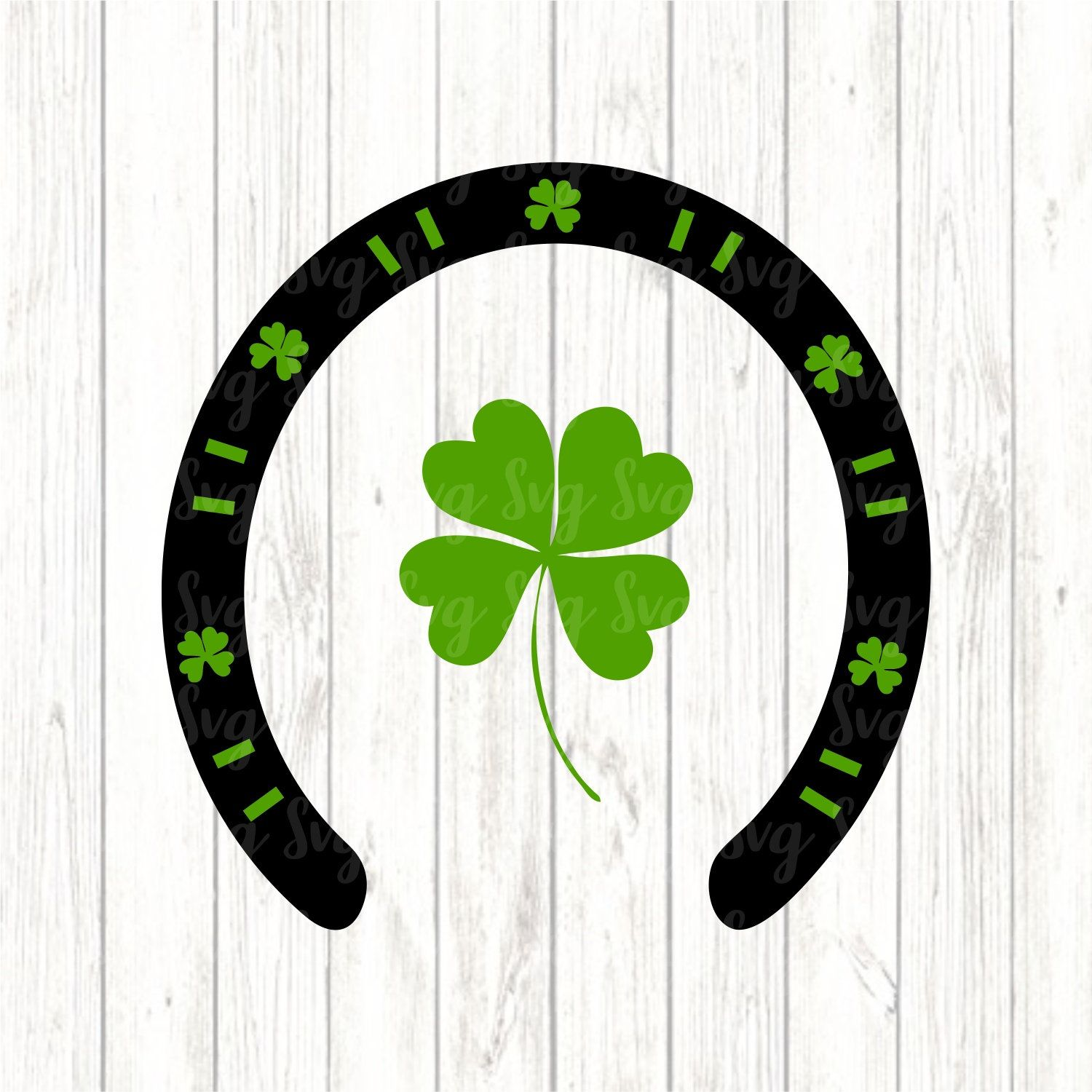 Shamrock Horseshoe Svg Lucky Horseshoe Shamrock Lucky Horseshoe Silhouette Design
