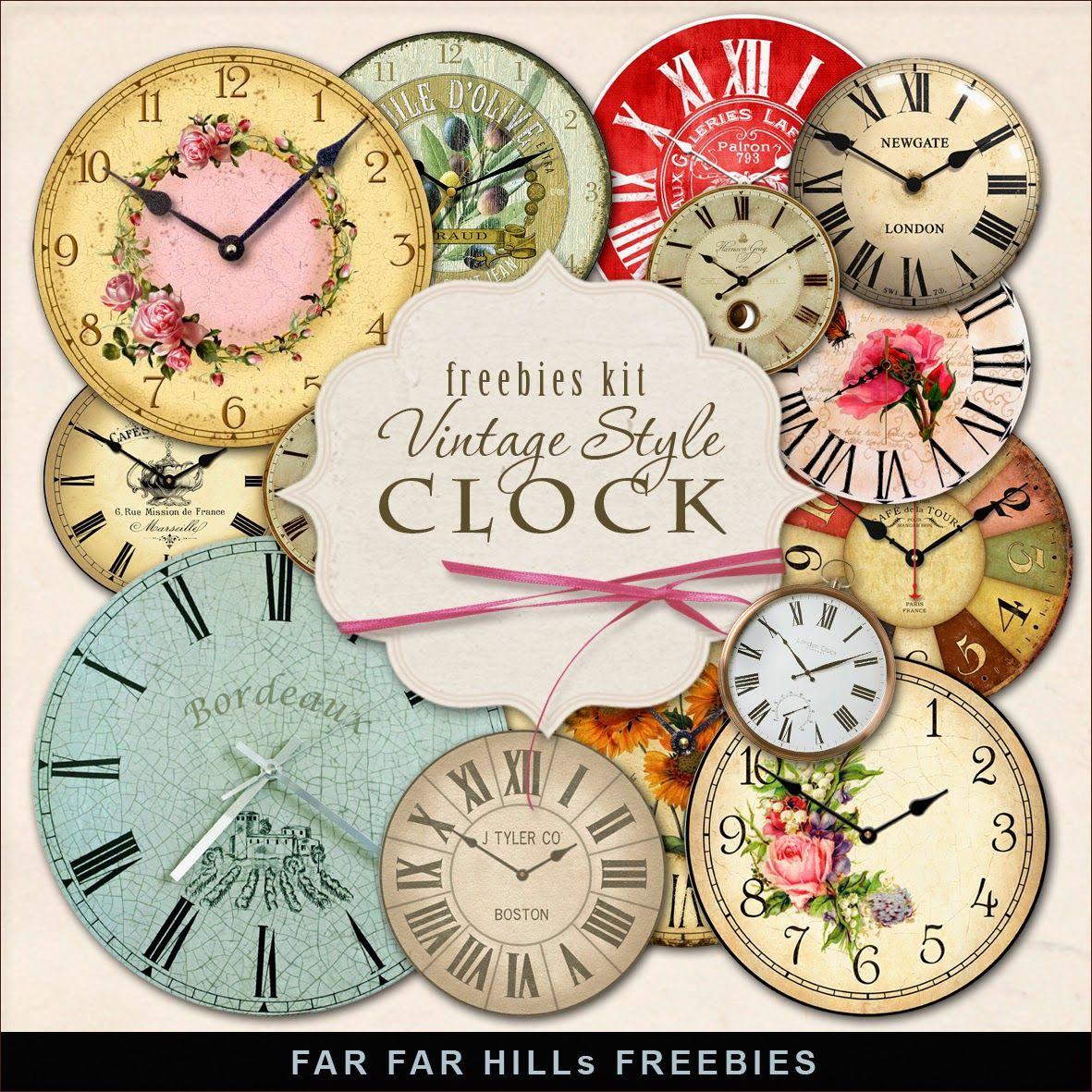 Far Far Hill New Freebies Kit of Vintage Style Clock