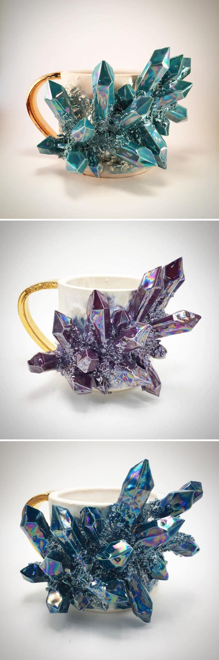 Iridescent Ceramic Mugs and Plates Bursting with Clusters of Dazzling Crystals