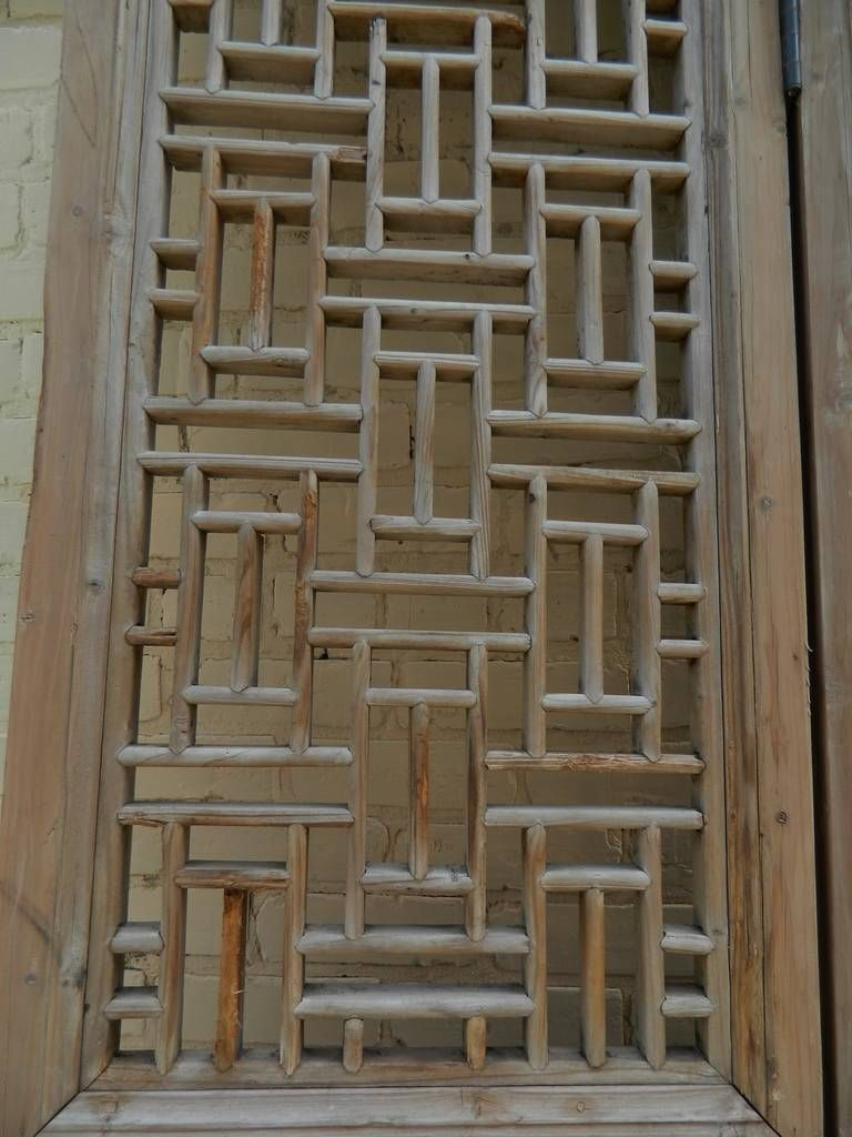 19th Century Large Chinese Four-Panel Wooden Lattice Door or Screen & 19th Century Large Chinese Four-Panel Wooden Lattice Door or Screen ...