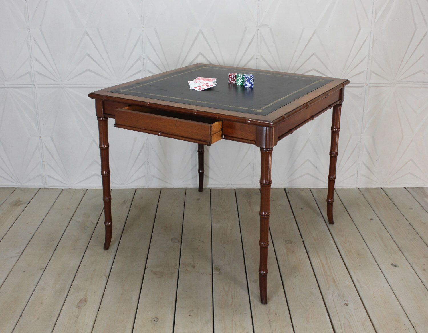 Vintage Faux Bamboo Leather Top Game Card Table Hollywood Regency