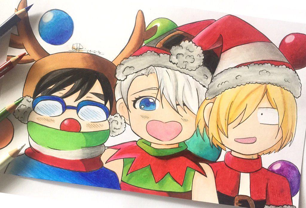 Yuri!!! On Ice Christmas Fanart! by eliansart.deviantart.com on ...