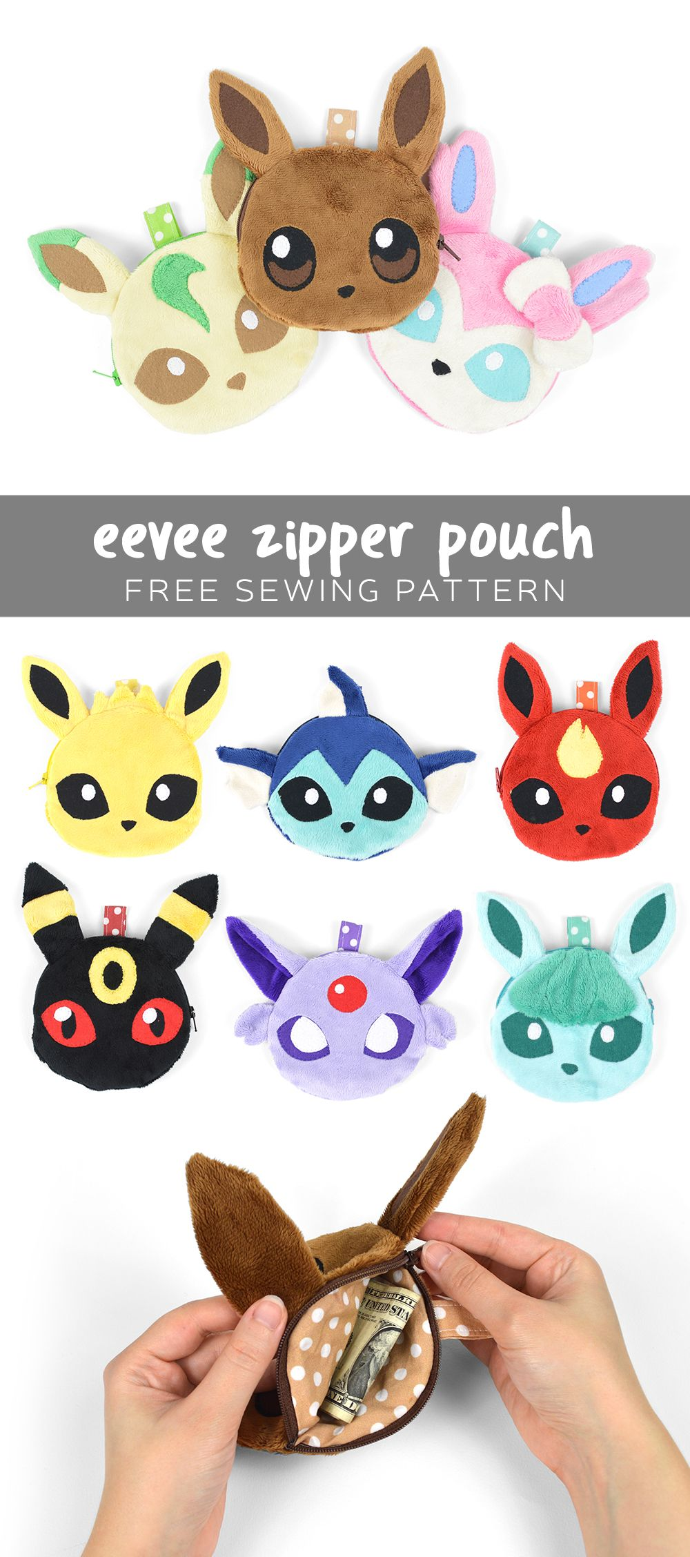 Free Pattern Friday! Eevee Zipper Pouch | Choly Knight | sewing ...