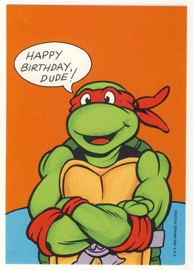 This is a vintage Teenage Mutant Ninja Turtles birthday greeting