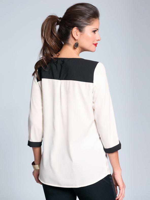 9a3df1b05d Blusa de vestir mujer manga 3 4 diseño bicolor con pliegue