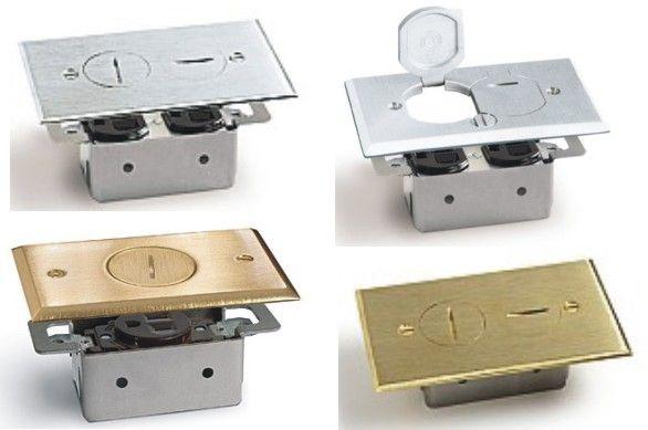 5 more floor boxes covers for wood so click on any for Wood floor outlet cover