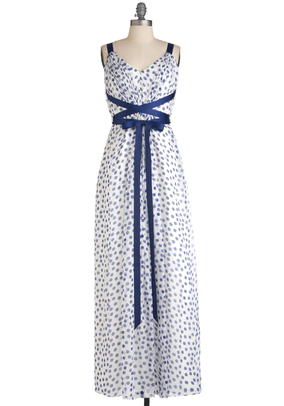 Jill Jill Stuart Just the Dot Dress by Jill Jill Stuart - Long, Blue, White, Polka Dots, Party, Maxi, Summer, Tank top (2 thick straps), Belted