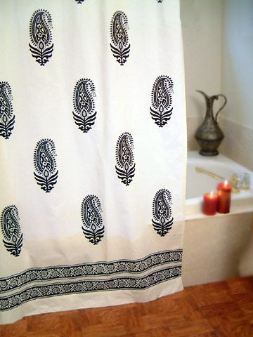 Black And Paisley Shower Curtain Perfect Authentic Indian Touch For A White Bathroom Now To Find The Little Pewter Jug Shown In Background