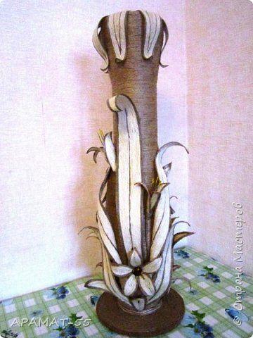 Поделка изделие Моделирование конструирование Напольная ваза Шпагат фото 1