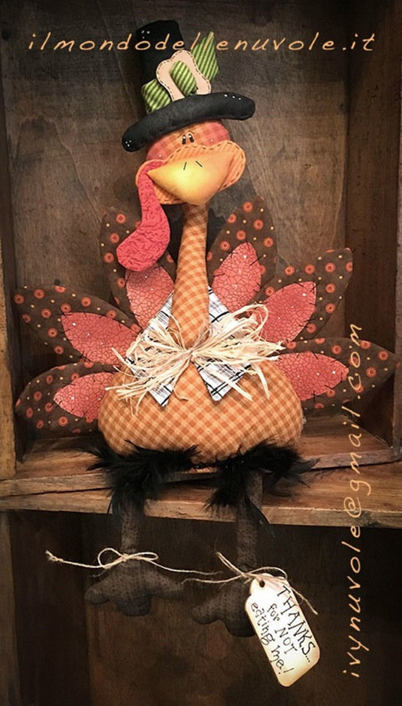Primitive Thanksgiving Turkey Bird Doll Paper Pattern #522