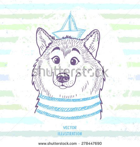 Cartoon cute and funny sailor dog in sketch style. Vector illustration