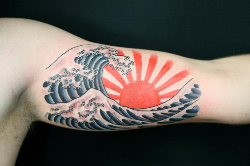 Japanese Rising Sun Ditch Tattoo Wave Tattoo By Rhysgordoncom
