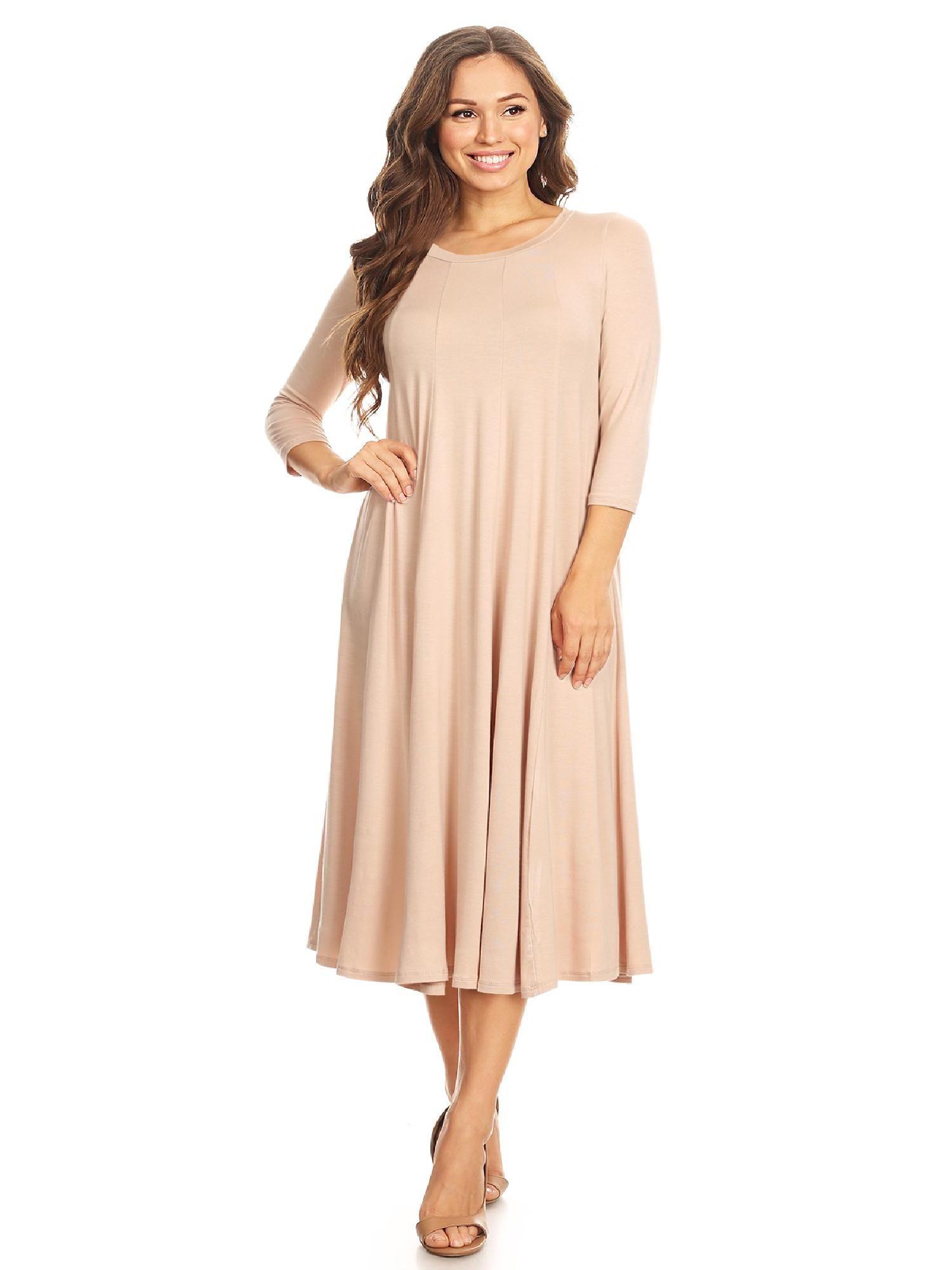 Moa Collection Women S Casual Basic Comfy 3 4 Sleeve Flare A Line Midi Long Maxi Dress Walmart Com Solid Midi Dress Long Maxi Dress Midi Dress Style [ 2000 x 1500 Pixel ]