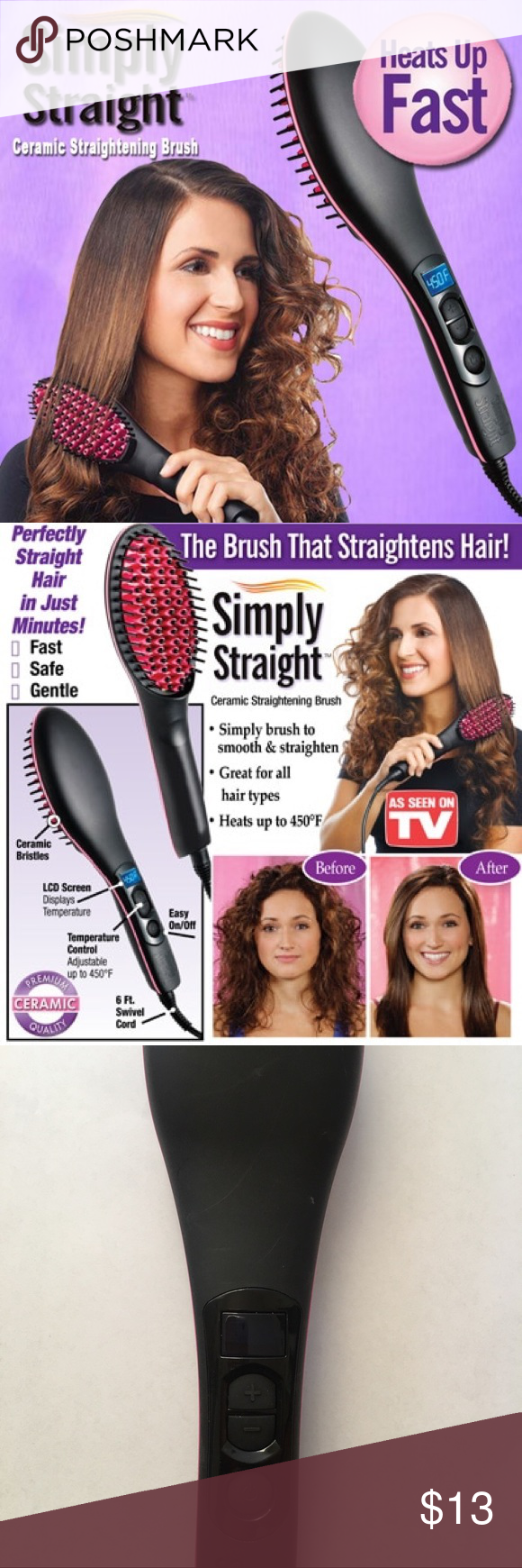 Simply Straightening Hair Brush As Seen On Tv Straight Ceramic Works Well I Ve Only Used Once Got It For