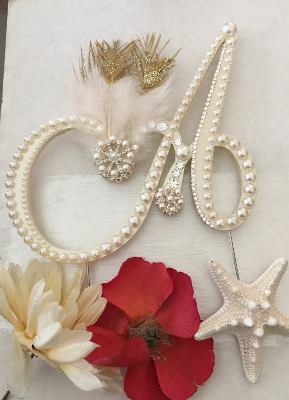 Diamonte Initials Cake Toppers