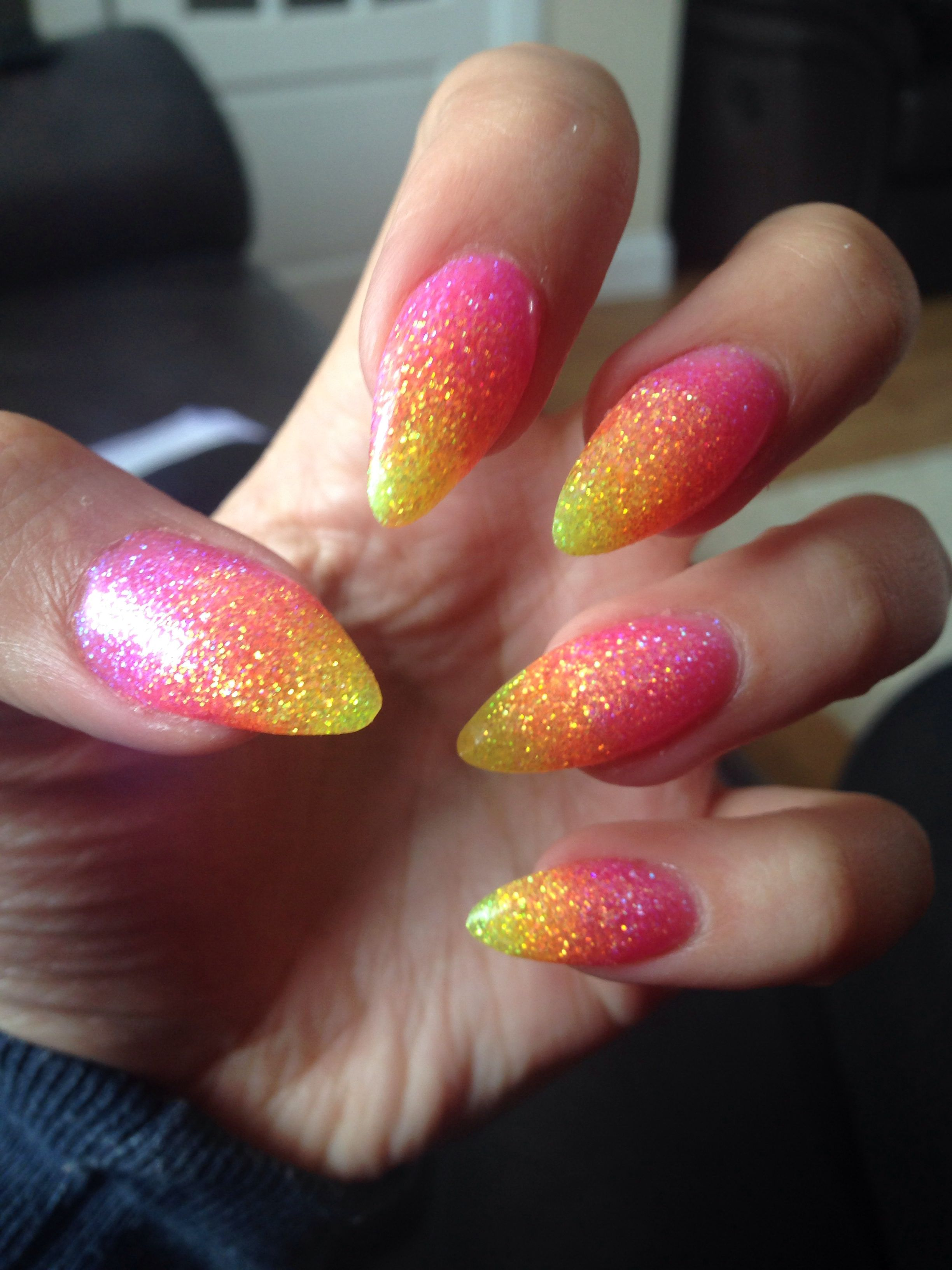 new summer nails pink orange and yellow glitter stiletto