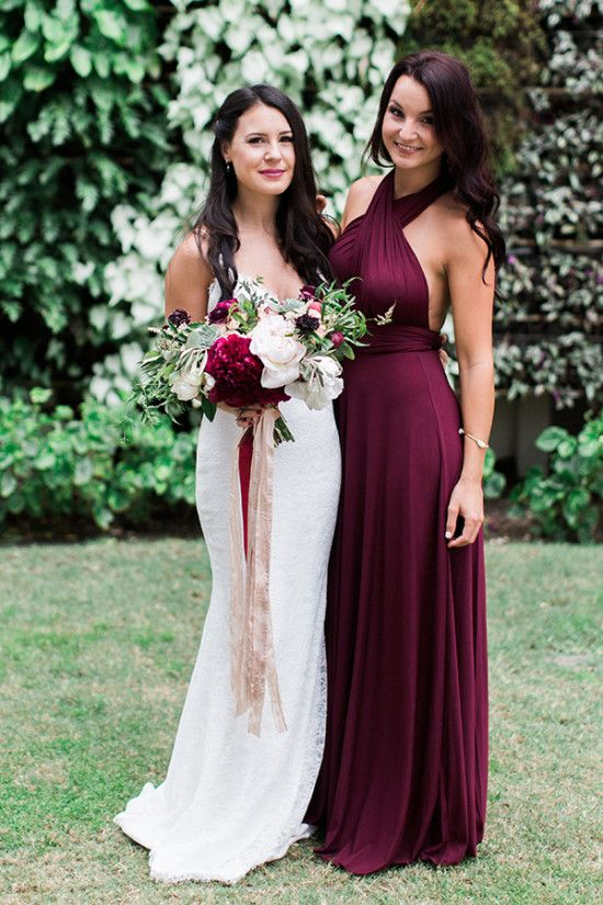 Bride And Bridesmaid In Burgundy Wine Color Dress Maroon Dresses