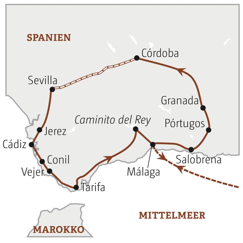 Karte Andalusien Cadiz.Young Line Travel Mit Marco Polo Andalusien Tapas Tour Mit Kultur