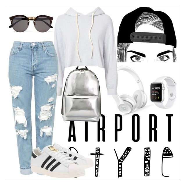 """""""#airportstyle"""" by erinnpiers ❤ liked on Polyvore featuring 3.1 Phillip Lim, Monrow, Topshop, adidas Originals, Illesteva, jeans, boyfriendjeans, metallic, women and airportstyle"""