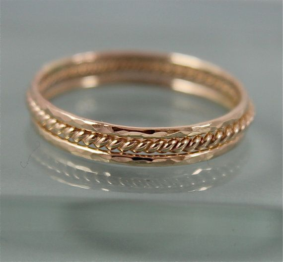 Gold Twist Ring Stack 14k SOLID Yellow Gold 1 Skinny Rope Twist