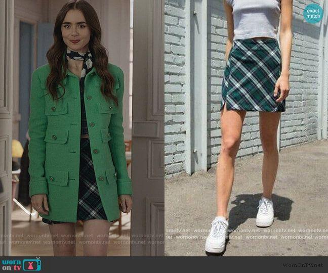Emily's green tweed coat on Emily in Paris