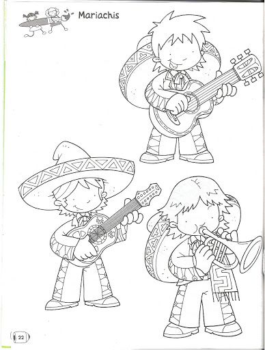 Mexican Mariachi - free coloring pages | Coloring Pages | Dibujos ...